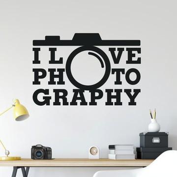 Adesivo de Parede I LOVE PHOTOGRAPHY - eu amo fotografia