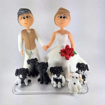 noivinhos de biscuit com cachorro n1