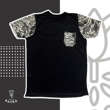 Camiseta Camisa Masculina Bolso Manga Estampada Folharal