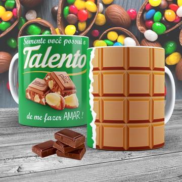 Caneca Porcelana Chocolate Talento
