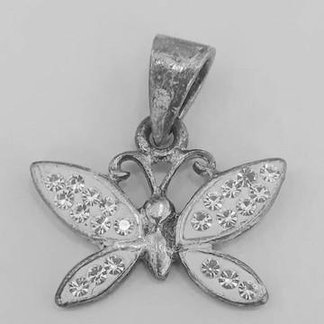 Pingente borboleta prata com strass
