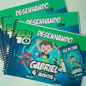 50 Kit/Caderno De Desenho +Lapis +Giz de Cera Personalizado