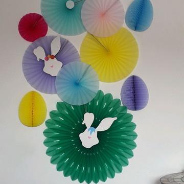 Painel Páscoa decoração fiorata rosetas leque de papel