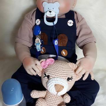 Bebê Reborn Silicone roupa azul marrom e Amigurumi