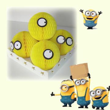 decoração festa minions globos, bolas de papel