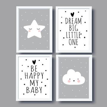 Kit Quadros Nuvem Estrela Be Happy Dream Big Little One
