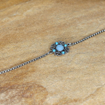 Pulseira azul prateada pulseirismo moda e acessorios