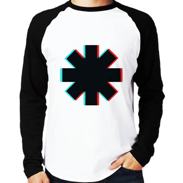 Camisa Raglan Red Hot Chili Peppers Glitch Manga Longa