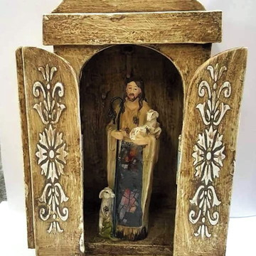 Imagem jesus bom pastor 15cm E Oratorio Capela Madeira