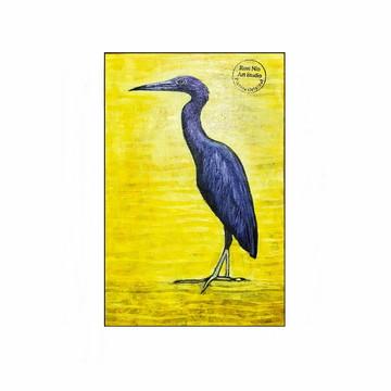 Quadro pintado a mão decorativo pássaro Garça Azul