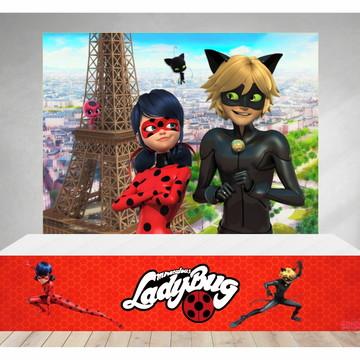 Painel e Saia da Mesa em Tecido Ladybug