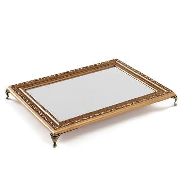 Bandeja espelho dourada