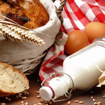 Adesivo Parede Leite Ovos Pães Trigo Cereal Alimento Saúde