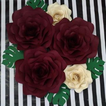 Kit com 7 Flores Papel 30 cm 20 cm 15 cm folhas + brinde