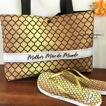 Kit bolsa e chinelos, especial dourado dia das Mães