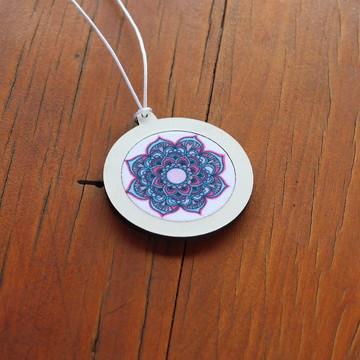 0 Pingente/Mini-bastidor com tecido sublimado - Mandala