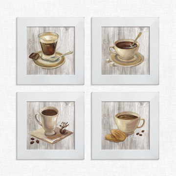 69e22ff43 Kit 4 Quadros Decorativos Café Chocolate Pequeno Comp1224