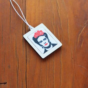 Pingente/Mini-bastidor com tecido sublimado - Frida Kahlo