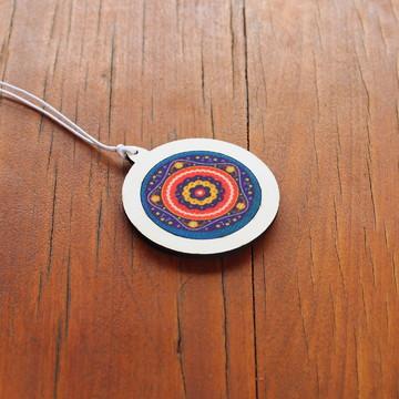 Pingente/Mini-bastidor com tecido sublimado - Mandala