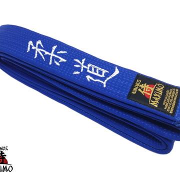 Faixa Especial Azul para Judo - Bordada JUDO em japonês
