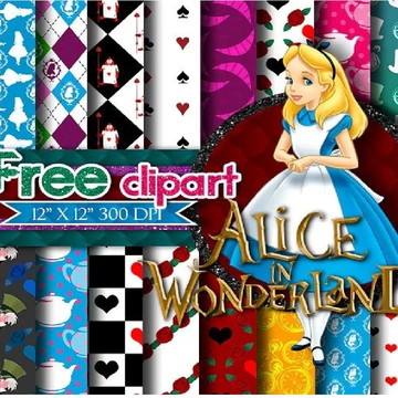Kit Scrapbook Digital Alice Clipart