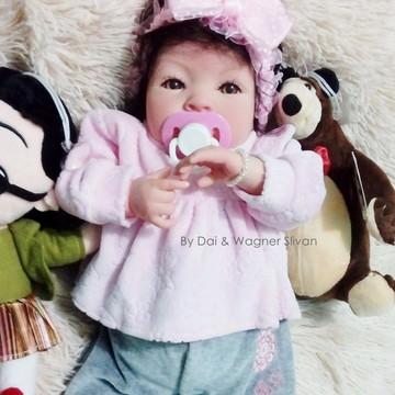 Bebê Reborn Menina Super Realista Com Chupeta E Enxoval