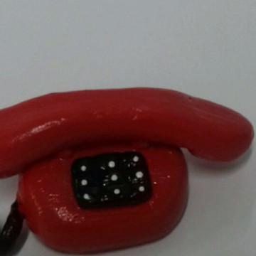 Telefone em miniatura em biscuit