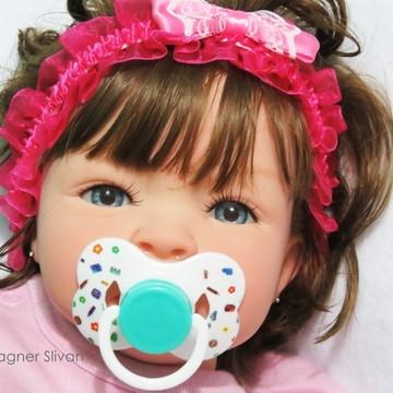 Bebê Reborn Menina Detalhes Reais Com Chupeta E Acessórios