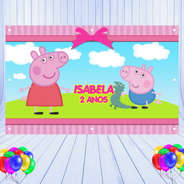 Painel 2,50x1,30mt - Peppa e George Pig
