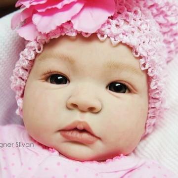Boneca Bebê Reborn Menina Detalhes Reais Com Lindo Enxoval