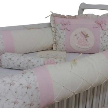 Kit de berço menina boneca camponesa rosa e marifm floral