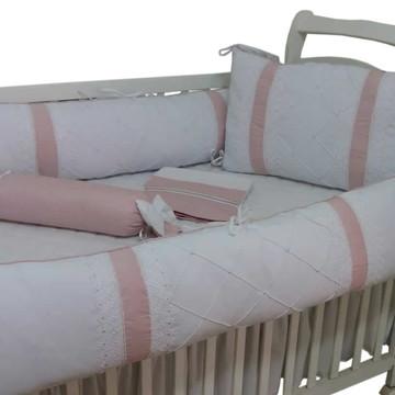 Kit de berço menina todo branco detalhes rose e guippir