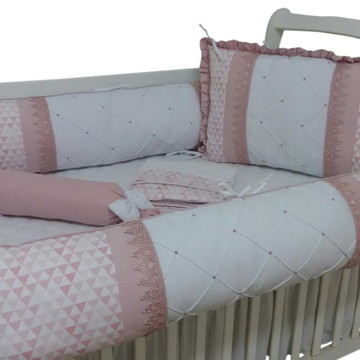 Kit de berço menina geométricos rose e branco guippir rose 7