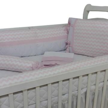 Kit de berço menina chevron rosa e branco Lateral Rolo 07p