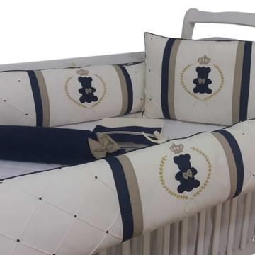 Kit de berço menino Azul marinho dourado ursinho rei 07pç