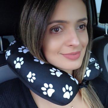 Travesseiro de pescoço almofada viagens preto patinhas apoio