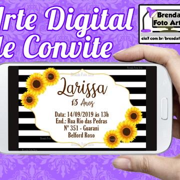 Arte Digital Convite Girassol