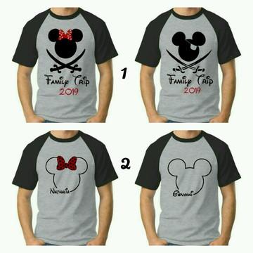 Camiseta viagem Disney raglan cinza