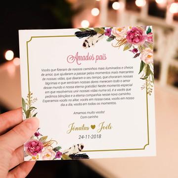 Convite para pais dos noivos floral rosa - Arte Digital