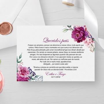 Convite para pais dos noivos floral roxo - Arte Digital