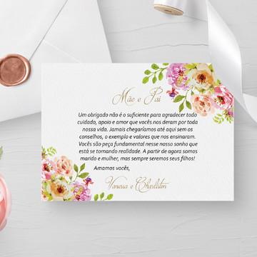 Convite para pais dos noivos floral - Arte Digital