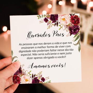 Convite para pais dos noivos floral marsala - Arte Digital