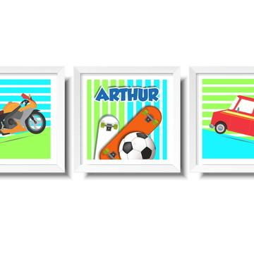 Trio Quadro Infantil Transporte e Esporte
