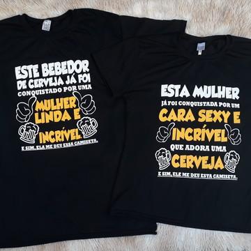 f7a7ba1954 KIT 2 camisetas com frase casal - bebedor de cerveja