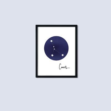 Quadro Signo Câncer: quadro constelação com moldura e vidro