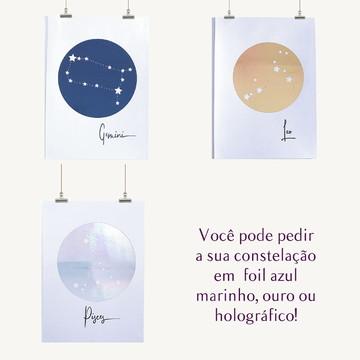 Quadro Signo Gêmeos: quadro constelação com moldura e vidro