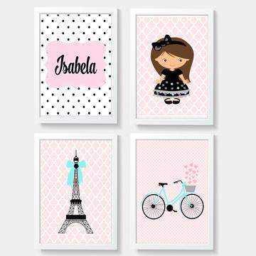Quadros decoração menina Paris - A4