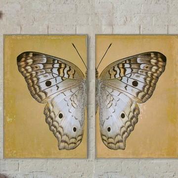 Dueto de Quadros Decorativos Vintage Butterfly