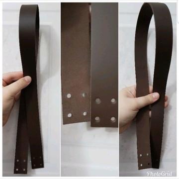Alças De Couro de 3,5cm x 52cm com Furos para Costura