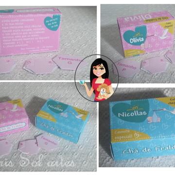 Convite caixinha Pampers Chá de fraldas Personalizado